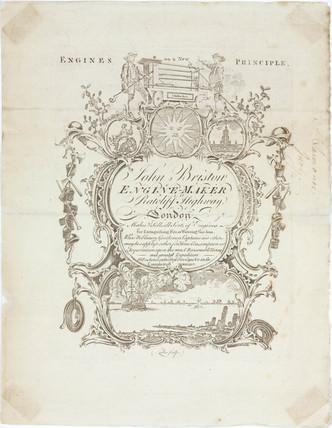 Trade card of John Bristow, fire engine maker, 1773.