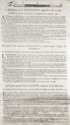 'A Description of a Telescope adapted to use at Sea', mid to late 18th century.