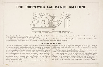 Directions for using 'The Improved Galvanic Machine', 19th century.