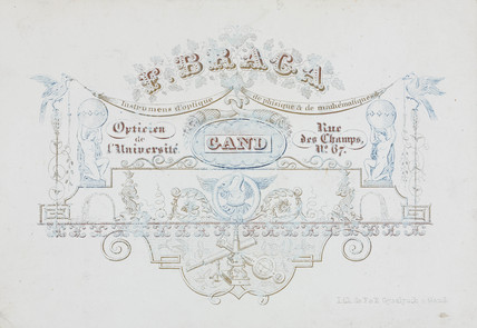 Trade card of F Braga, scientific instrument maker, 19th century.