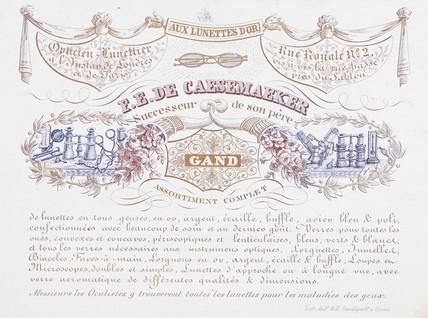 Trade card of F E De Caesemaeker, optician, 19th century.