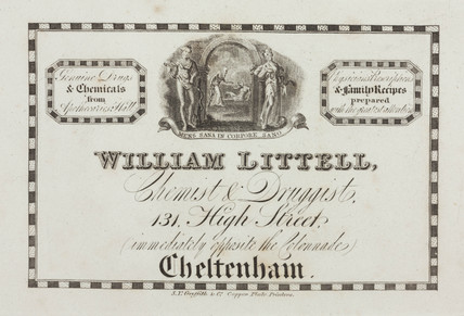 Trade card of William Littell, chemist and druggist, 19th century.