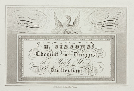 Trade card of H Sisons, chemist and druggist, 19th century.