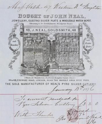 Receipt from John Neal, jewellers, 1876.