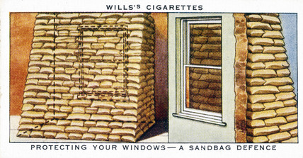 'Protecting Your Windows - a Sandbag Defence', Wills cigarette card, 1938.