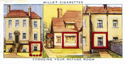 'Choosing Your Refuge room', Wills cigarette card, 1938.