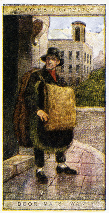 'Door Mats, Want?', trade card, 1916.