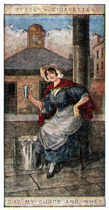 'Buy my Curds and Whey', trade card, 1916.