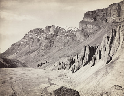 Unusual rock formations on the Spiti riverbed, India, c 1850-1900.