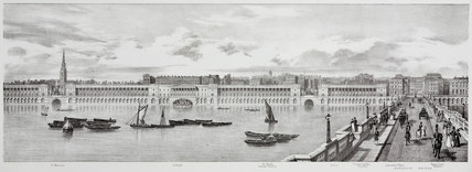 View from St Martin's to Waterloo Bridge, London, 1825.