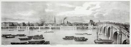 The River Thames and Blackfriars Bridge, London, 1825.