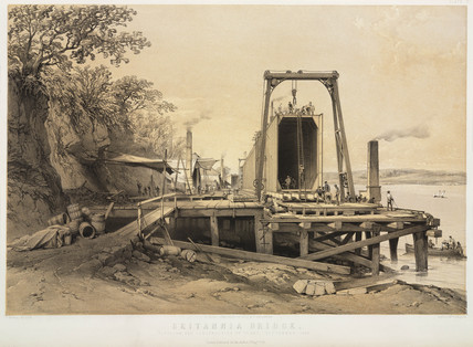 Construction of the tubes for the Britannia Bridge, 1848.