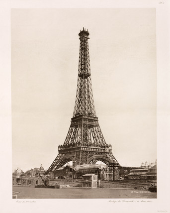 Fitting of the bell-tower, Eiffel Tower, Paris, 15 March 1889.