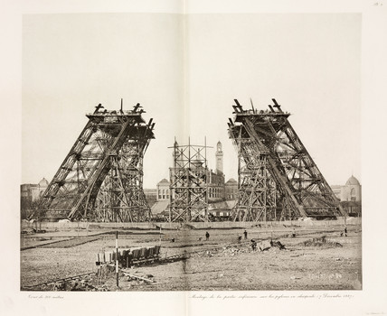 Construction of the Eiffel Tower, Paris, 7 December 1887.