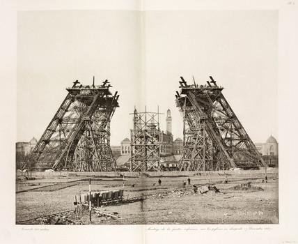 Construction of the Eiffel Tower, Paris, 7 December 1887.
