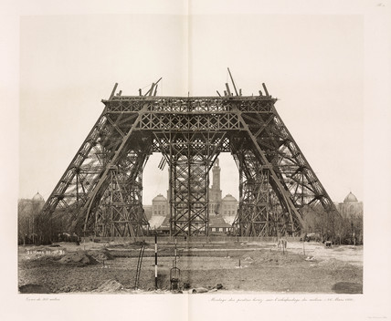 Asembly of the horizontal girders, Eiffel Tower, Paris, 26 March 1888.