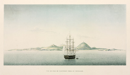 The frigate 'Coquille' anchored near Ascension Island, 1822-1825.