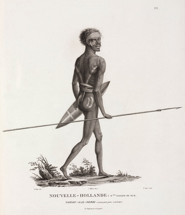 Aboriginal man prepared for battle, 1801-1803.