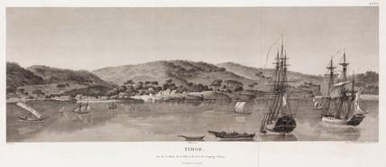 Sailing ships in the natural harbour at Kupang, Timor, 1801-1803.