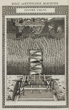 Retractable bridge for crosing a moat, 1588.