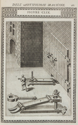 Device for lifting a door from its hinges, 1588.