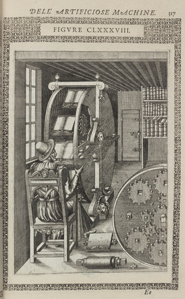 Machine for studying several books at once, 1588.