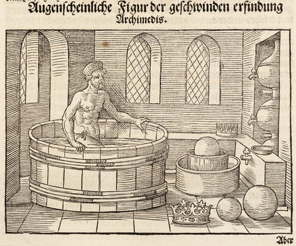 Archimedes getting into his bath, 3rd century BC, (1548).