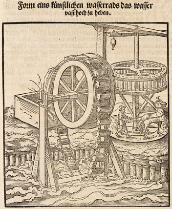Lifting water using horse-power, 1548.