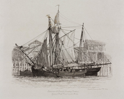 Schooner and smack at Fresh Wharf, London Bridge, 1829.