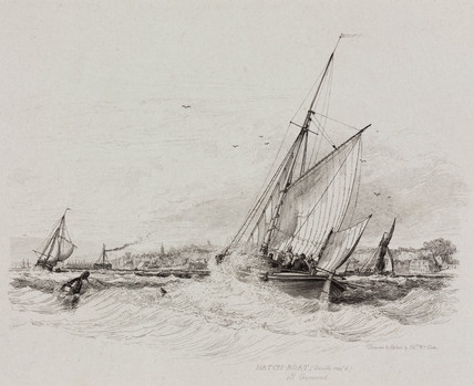 Double reefed Hatch-boat off Gravesend, Kent, 1829.