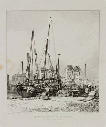 'Yarmouth Herring Boat unloading at the Quay', 1829.