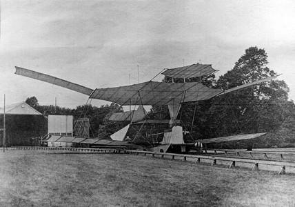 Maxim's flying machine on its launch track, Bexleyheath, Kent, 1894.