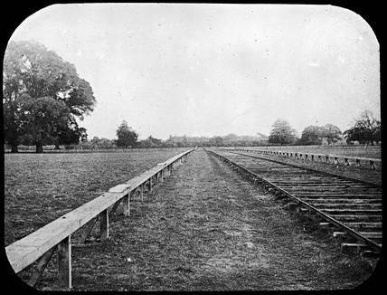 Launch track for Maxim's flying machine, Baldwin's Park, Kent, 1893-1894.