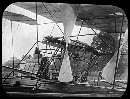 Maxim's flying machine after its 'flight' of 31st July 1894.