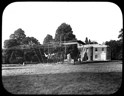 Maxim's flying machine, part assembled, Baldwin's Park, Kent, 1893-1894.