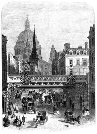 Bridge at Ludgate Hill, London, mid-late 19th century.