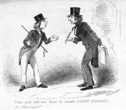 Headed notepaper satirising railway mania, 1845.