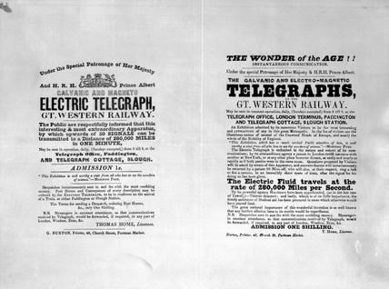 Handbills advertising public viewing of the GWR telegraphs, c 1846.