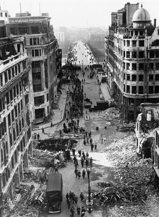 Bomb damage in City near London Bridge, London, 14 October 1940.