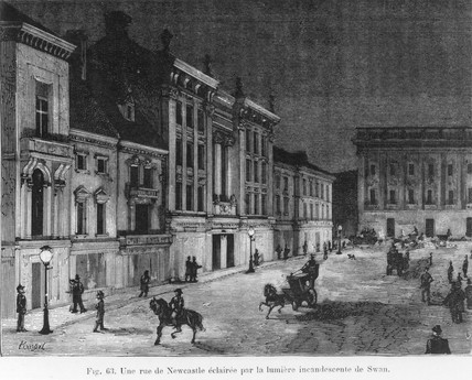 Street in Newcastle Upon Tyne lit by Swan lamps, Tyne & Wear, 1881.