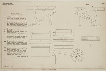Patent drawing of Hargreaves' Spinning Jenny, 1770.
