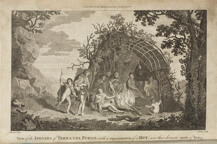 'View of the Indians of Tierra Del Fuego, with a representation of a Hut...', c 1775.