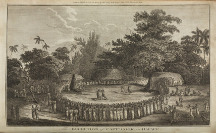 'The Reception of Captain Cook in Hapaee', c 1774.