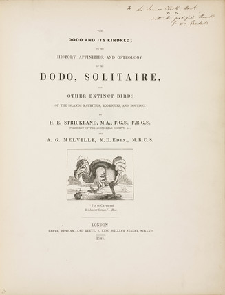 Title page to 'The Dodo and its Kindred', 1848.
