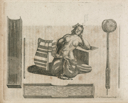 Acupuncture needles and patient, c 1712.