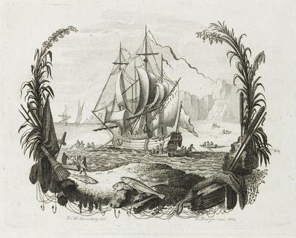 Sailing ship and fishing boats, 1783.