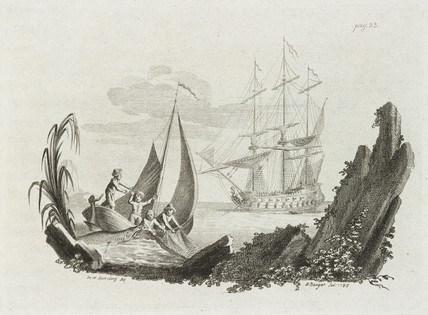 Shark attacking fishermen, 1785.