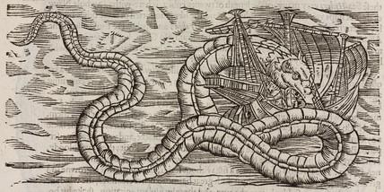 Sea-serpent attacking a ship, 1608.