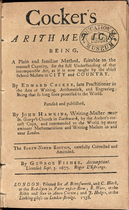 Title page from 'Cocker's arithmetick', 1738.