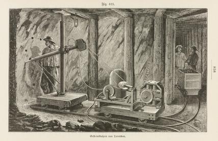 Taverdon's electric rock-borer, 1885.